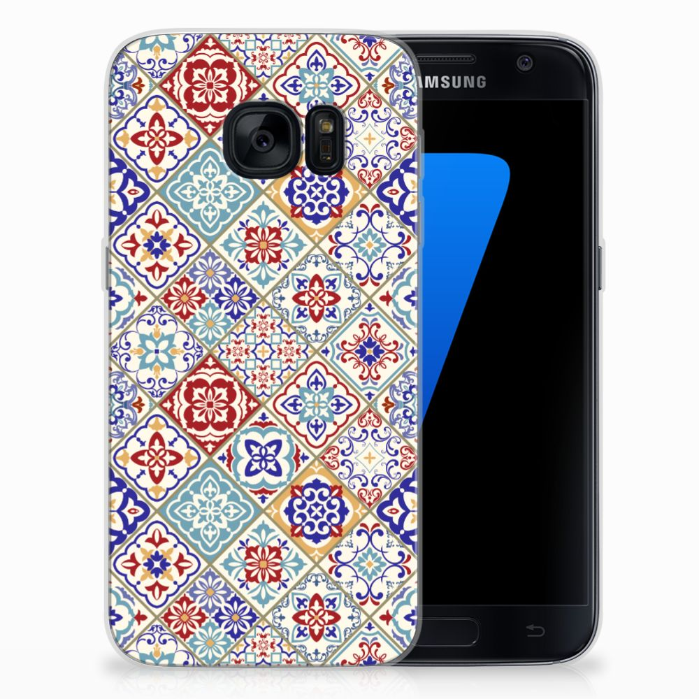Samsung Galaxy S7 TPU Siliconen Hoesje Tiles Color