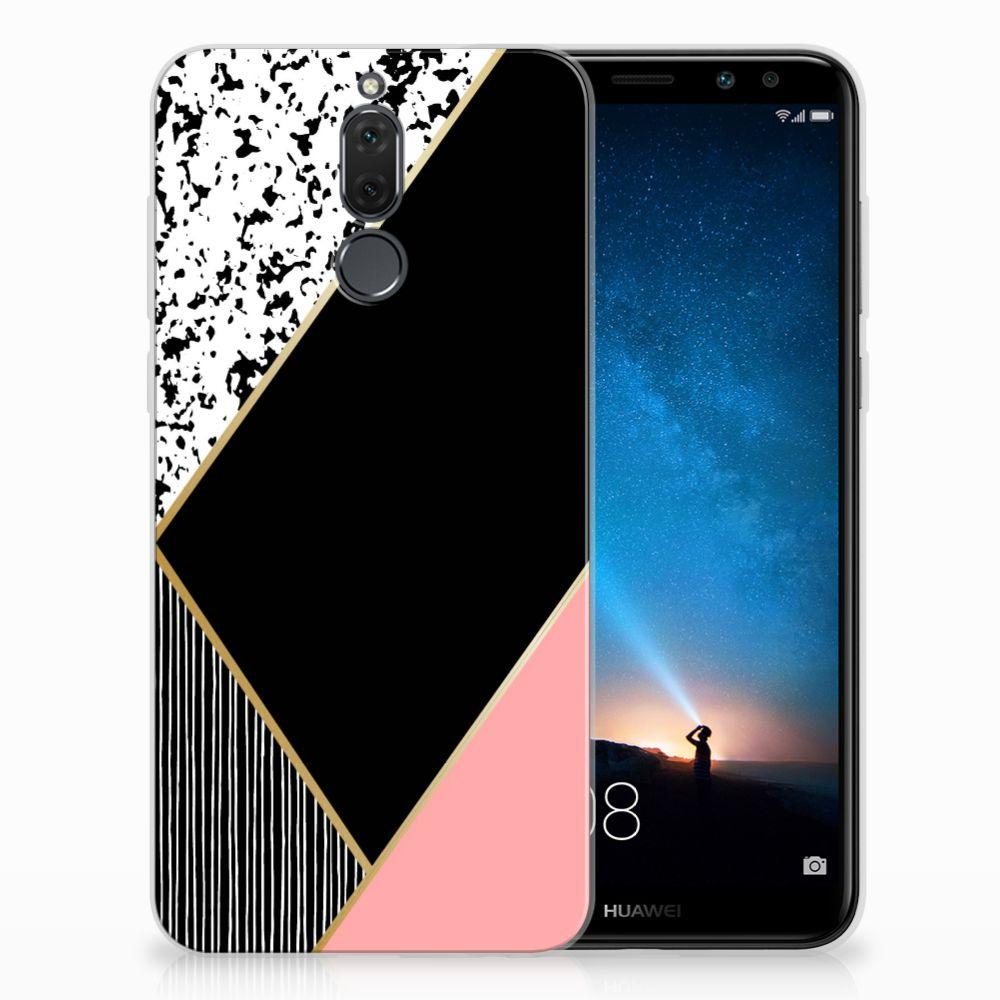 Huawei Mate 10 Lite Uniek TPU Hoesje Black Pink Shapes