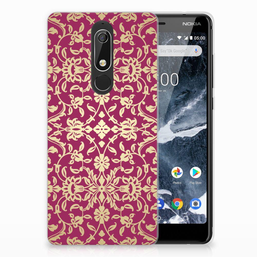 Nokia 5.1 (2018) TPU Hoesje Design Barok Pink