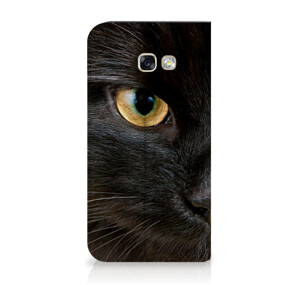 Samsung Galaxy A5 2017 Uniek Standcase Hoesje Zwarte Kat