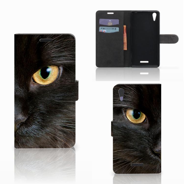 Sony Xperia T3 Telefoonhoesje met Pasjes Zwarte Kat