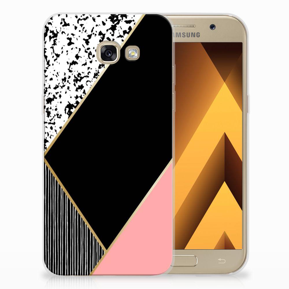 Samsung Galaxy A5 2017 Uniek TPU Hoesje Black Pink Shapes