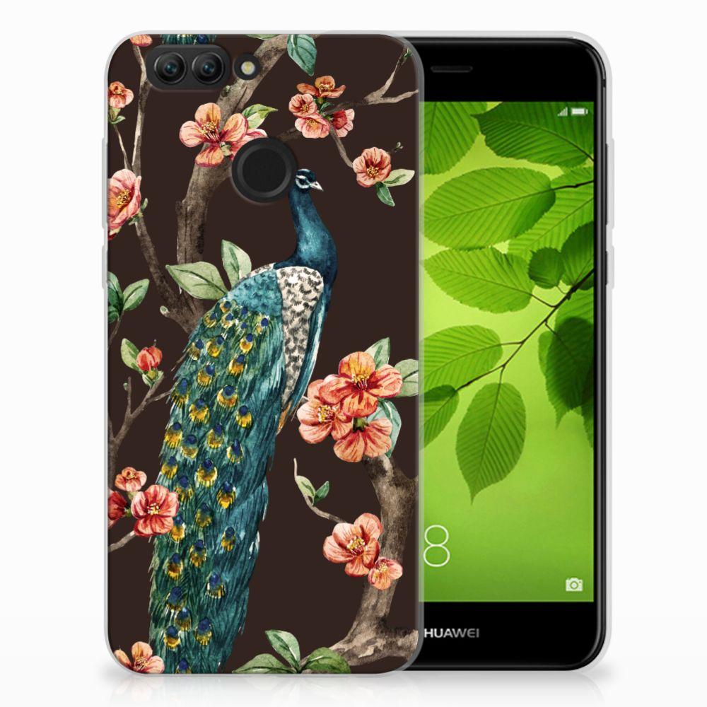 Huawei Nova 2 TPU Hoesje Pauw met Bloemen