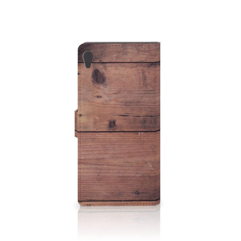 Sony Xperia XA Ultra Book Style Case Old Wood
