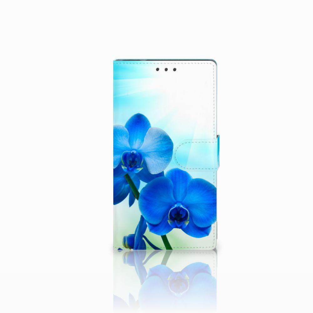 Samsung Galaxy Note 4 Boekhoesje Design Orchidee Blauw