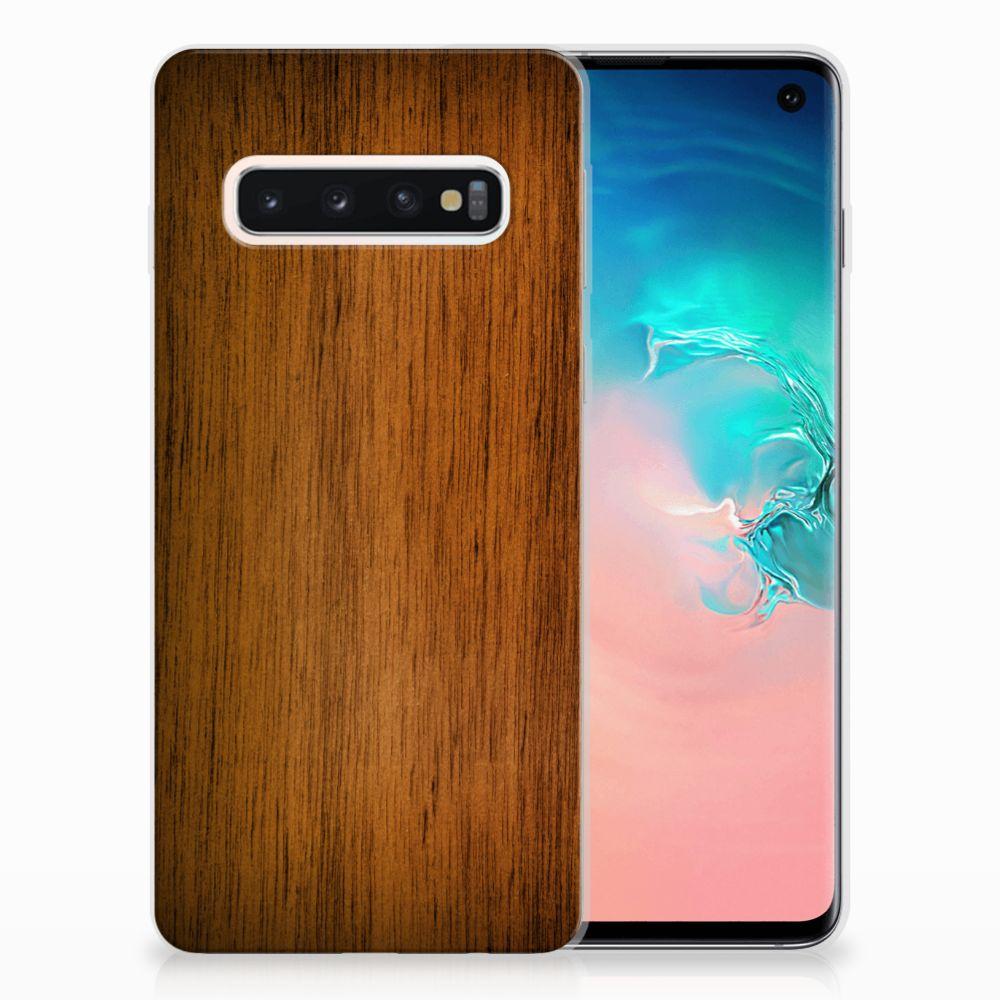 Samsung Galaxy S10 Uniek TPU Hoesje Donker Hout