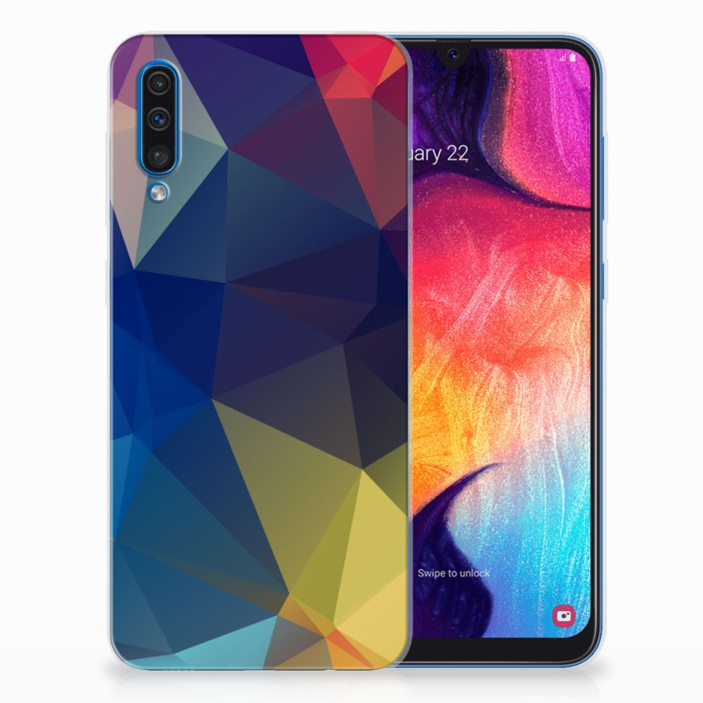 Samsung Galaxy A50 TPU Hoesje Polygon Dark