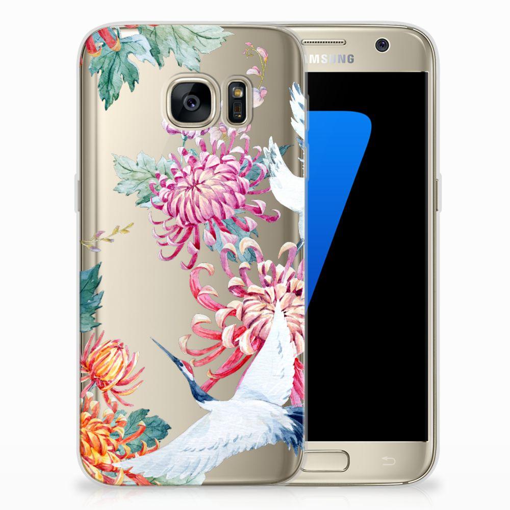 Samsung Galaxy S7 Uniek TPU Hoesje Bird Flowers
