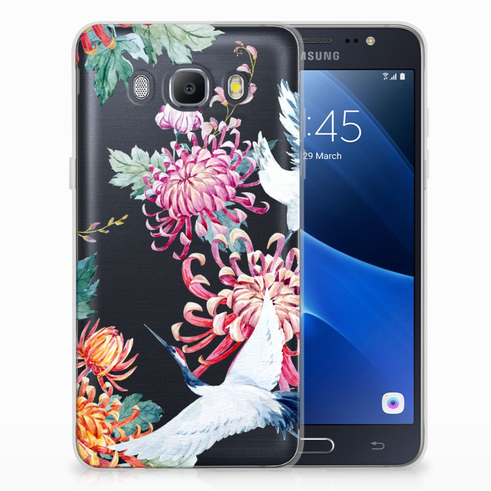 Samsung Galaxy J5 2016 TPU Hoesje Bird Flowers