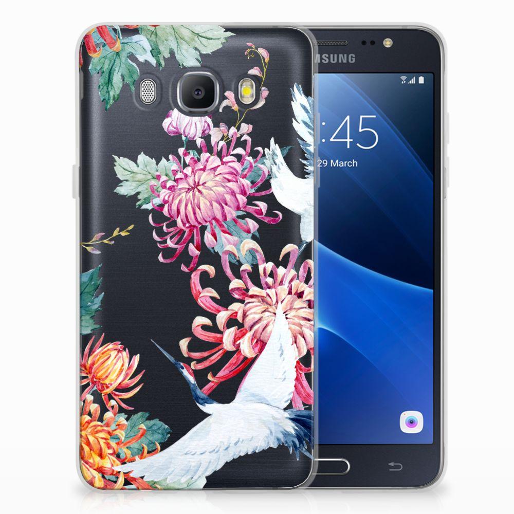 Samsung Galaxy J5 2016 Uniek TPU Hoesje Bird Flowers