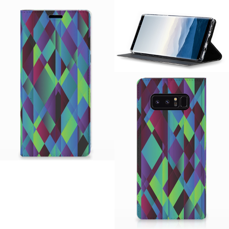 Samsung Galaxy Note 8 Stand Case Abstract Green Blue