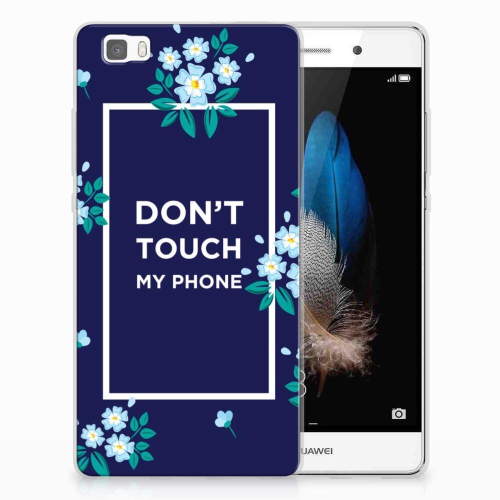 Huawei Ascend P8 Lite TPU Hoesje Flowers Blue DTMP