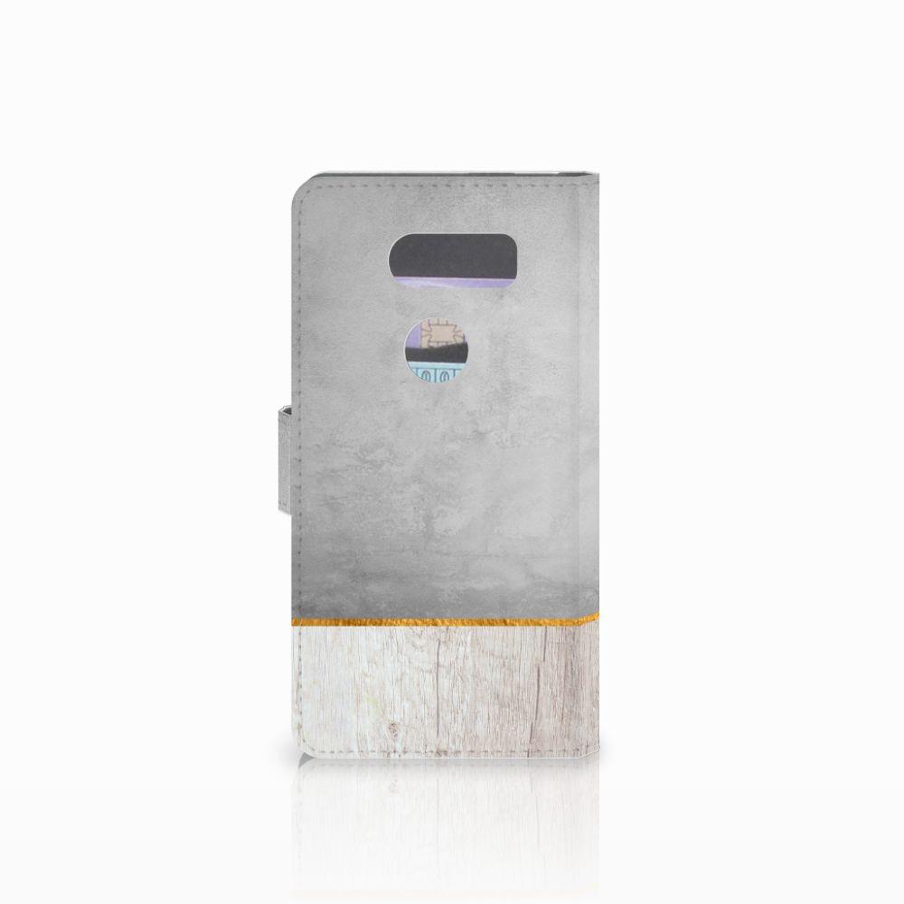 LG V30 Book Style Case Wood Concrete