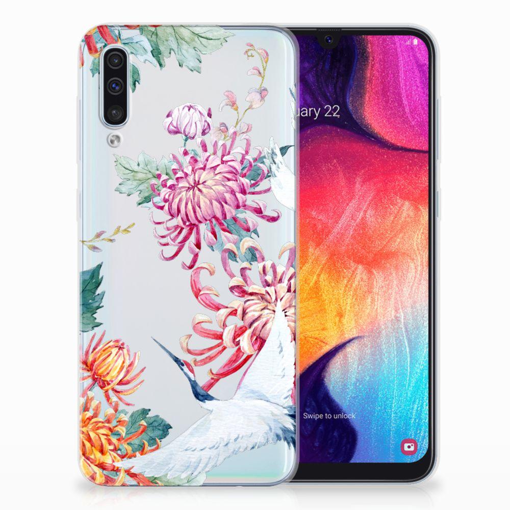 Samsung Galaxy A50 TPU Hoesje Bird Flowers