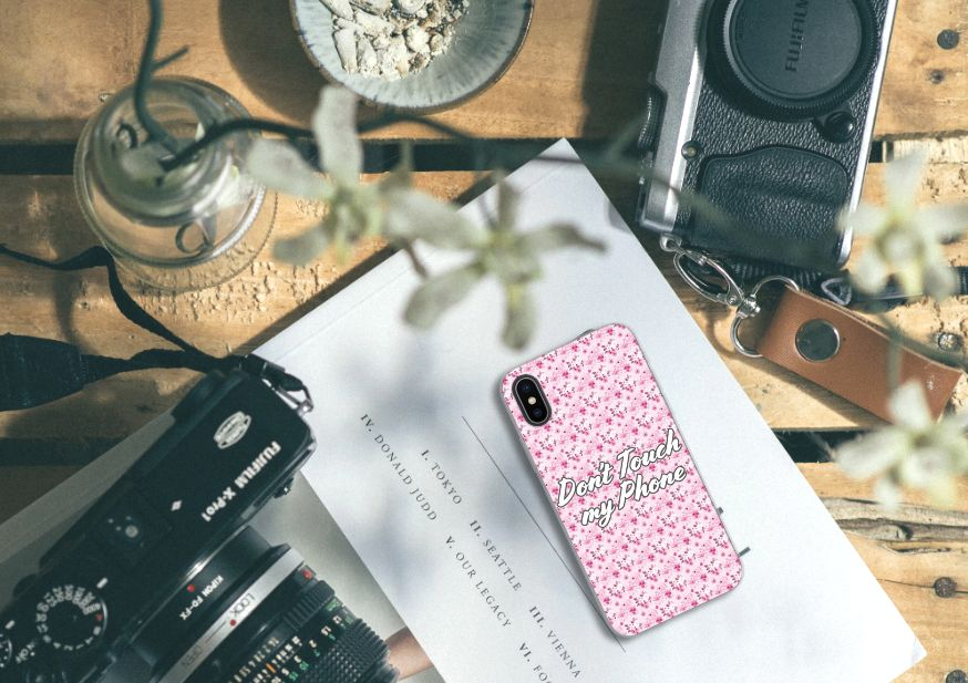 Apple iPhone X | Xs Silicone-hoesje Flowers Pink DTMP