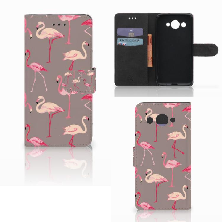 Huawei Y3 2017 Telefoonhoesje met Pasjes Flamingo