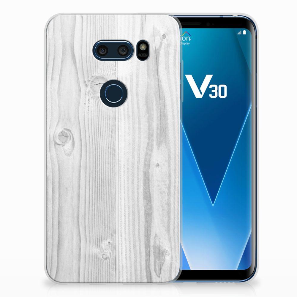 LG V30 Bumper Hoesje White Wood