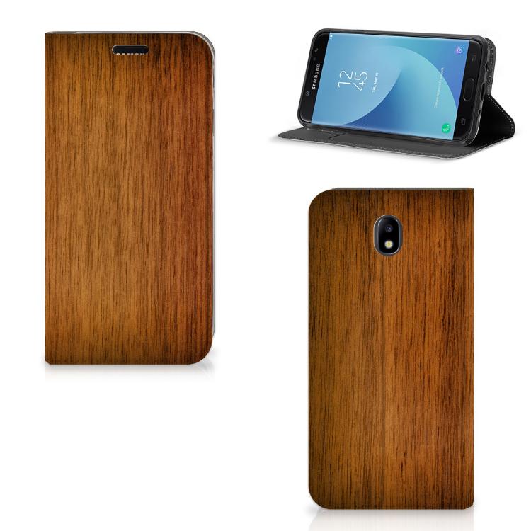 Samsung Galaxy J7 2017 | J7 Pro Uniek Standcase Hoesje Donker Hout