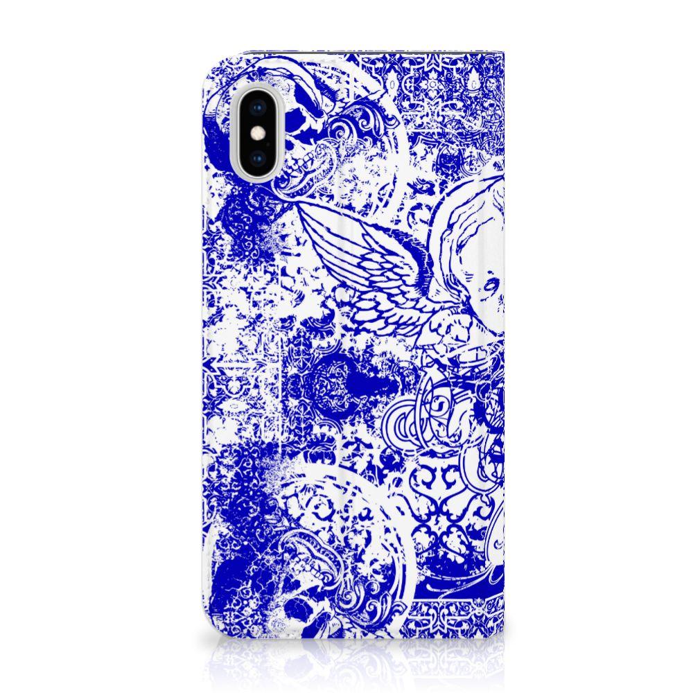 Apple iPhone Xs Max Uniek Standcase Hoesje Angel Skull Blue