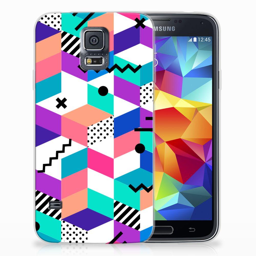Samsung Galaxy S5 TPU Hoesje Blokken Kleurrijk