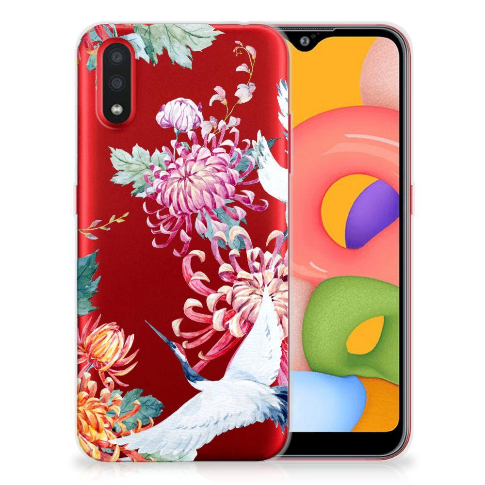 Samsung Galaxy A01 TPU Hoesje Bird Flowers