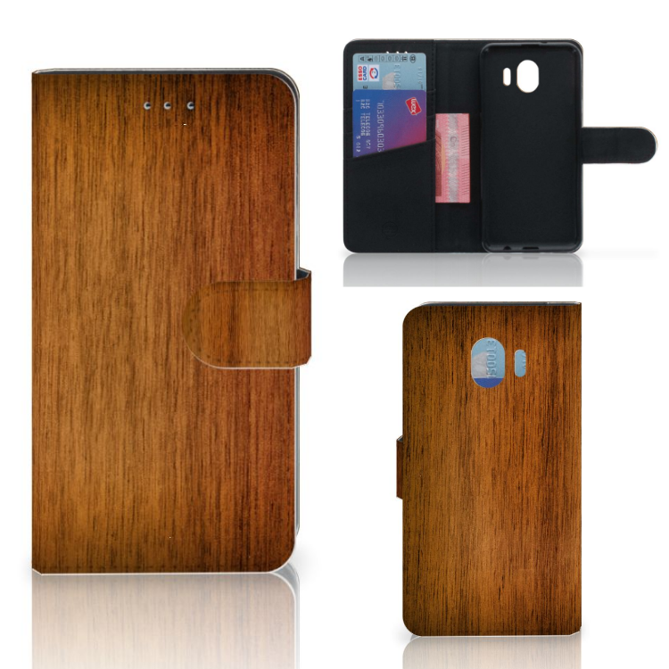 Samsung Galaxy J4 2018 Book Style Case Donker Hout