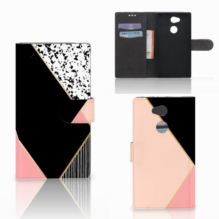 Sony Xperia L2 Bookcase Zwart Roze Vormen