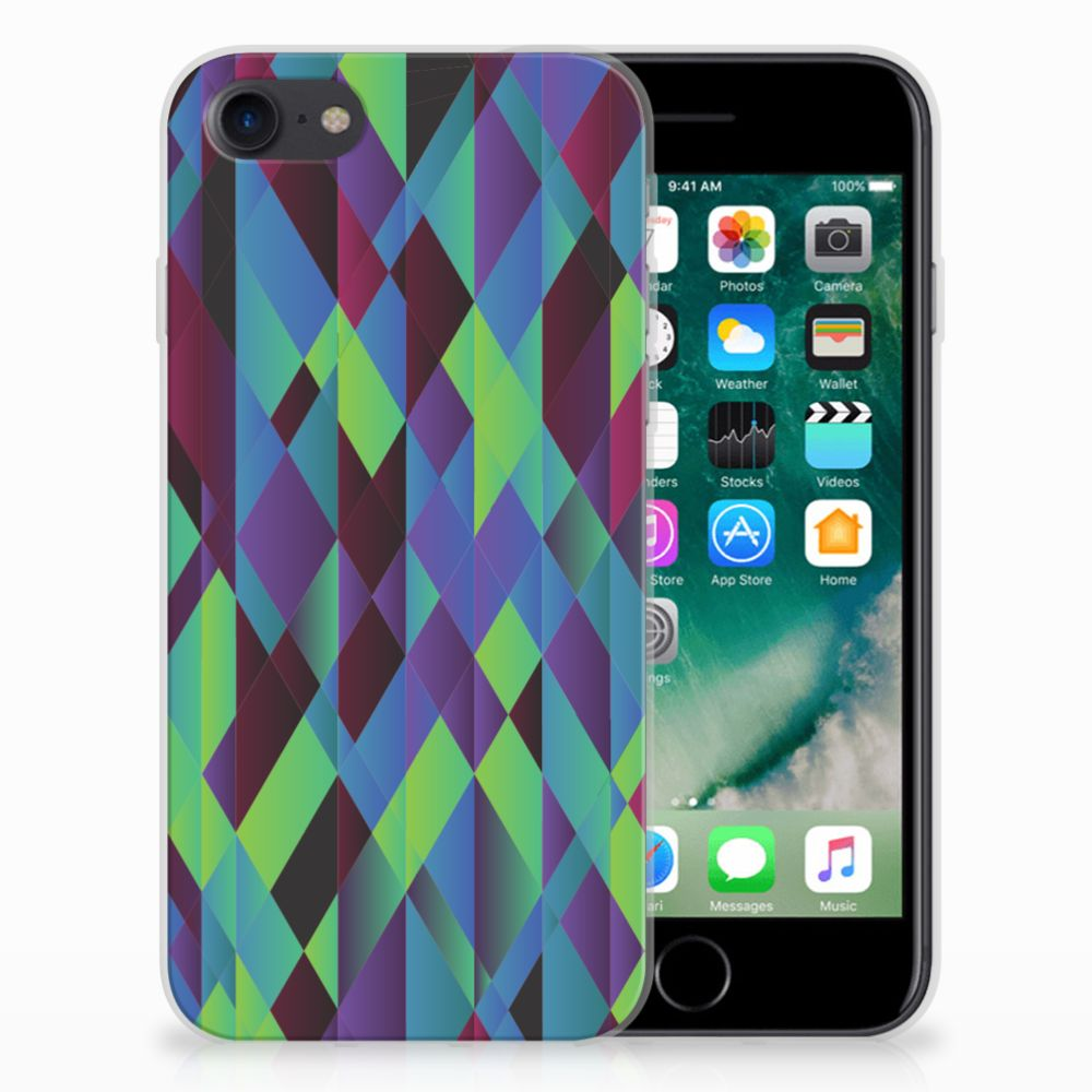 Apple iPhone 7 | 8 TPU Hoesje Design Abstract Green Blue