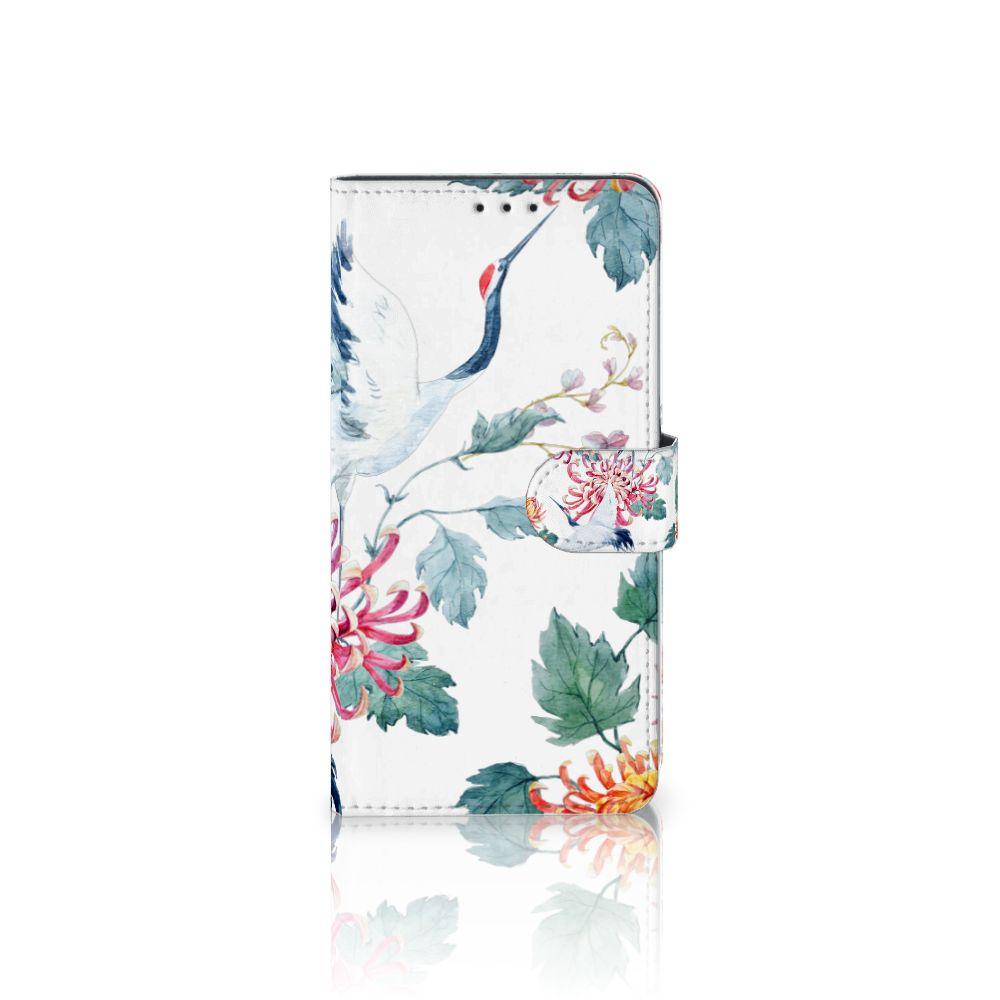 Samsung Galaxy A8 Plus (2018) Uniek Boekhoesje Bird Flowers