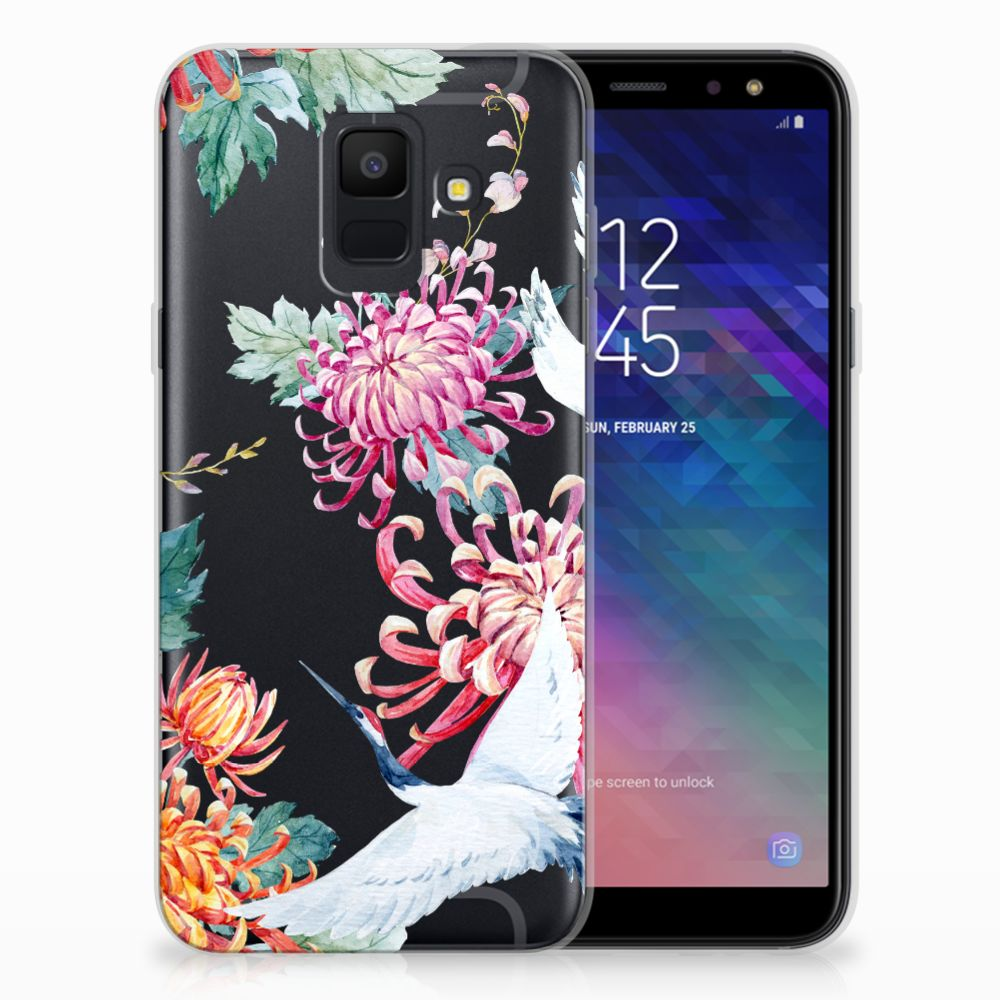 Samsung Galaxy A6 (2018) TPU Hoesje Bird Flowers