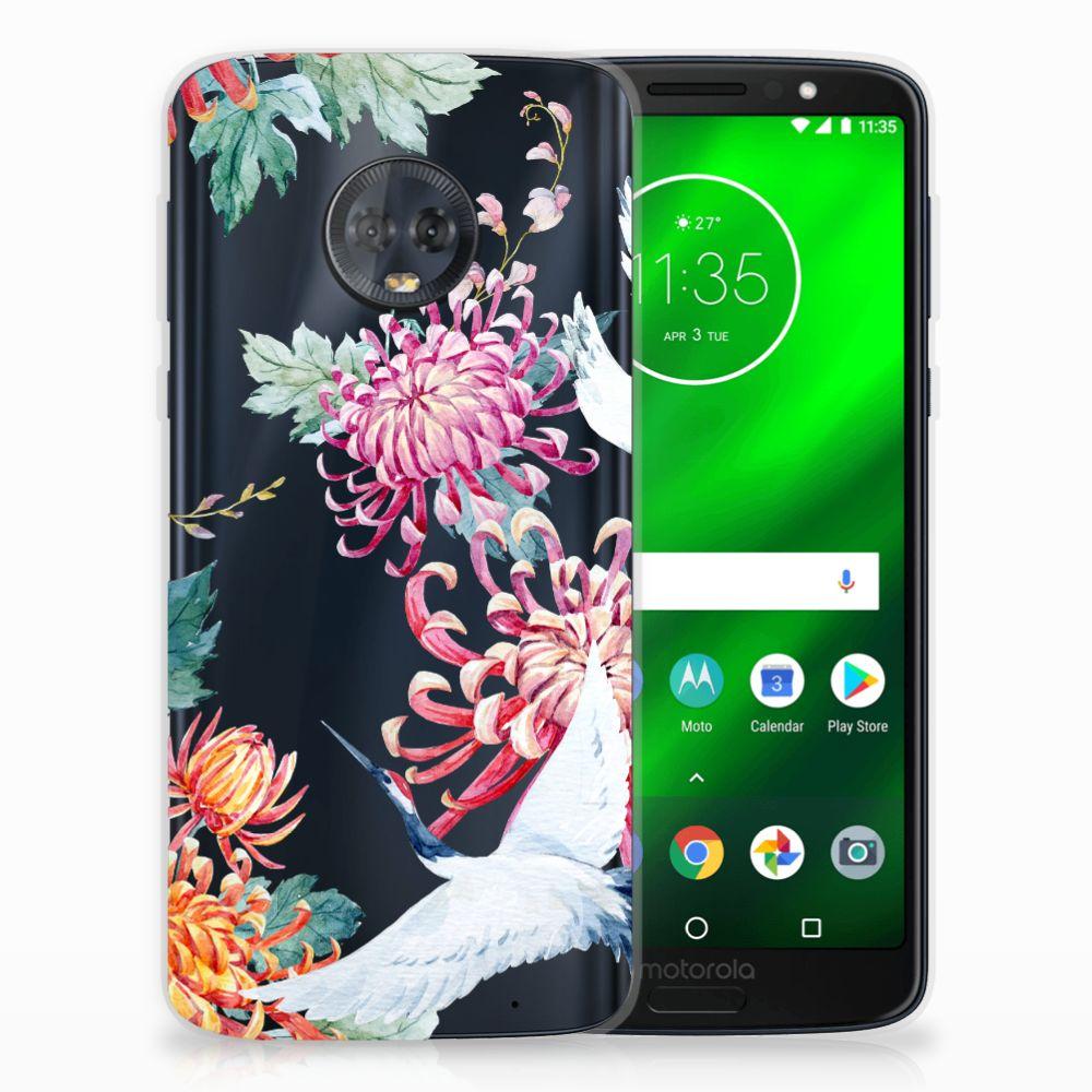 Motorola Moto G6 Plus Uniek TPU Hoesje Bird Flowers