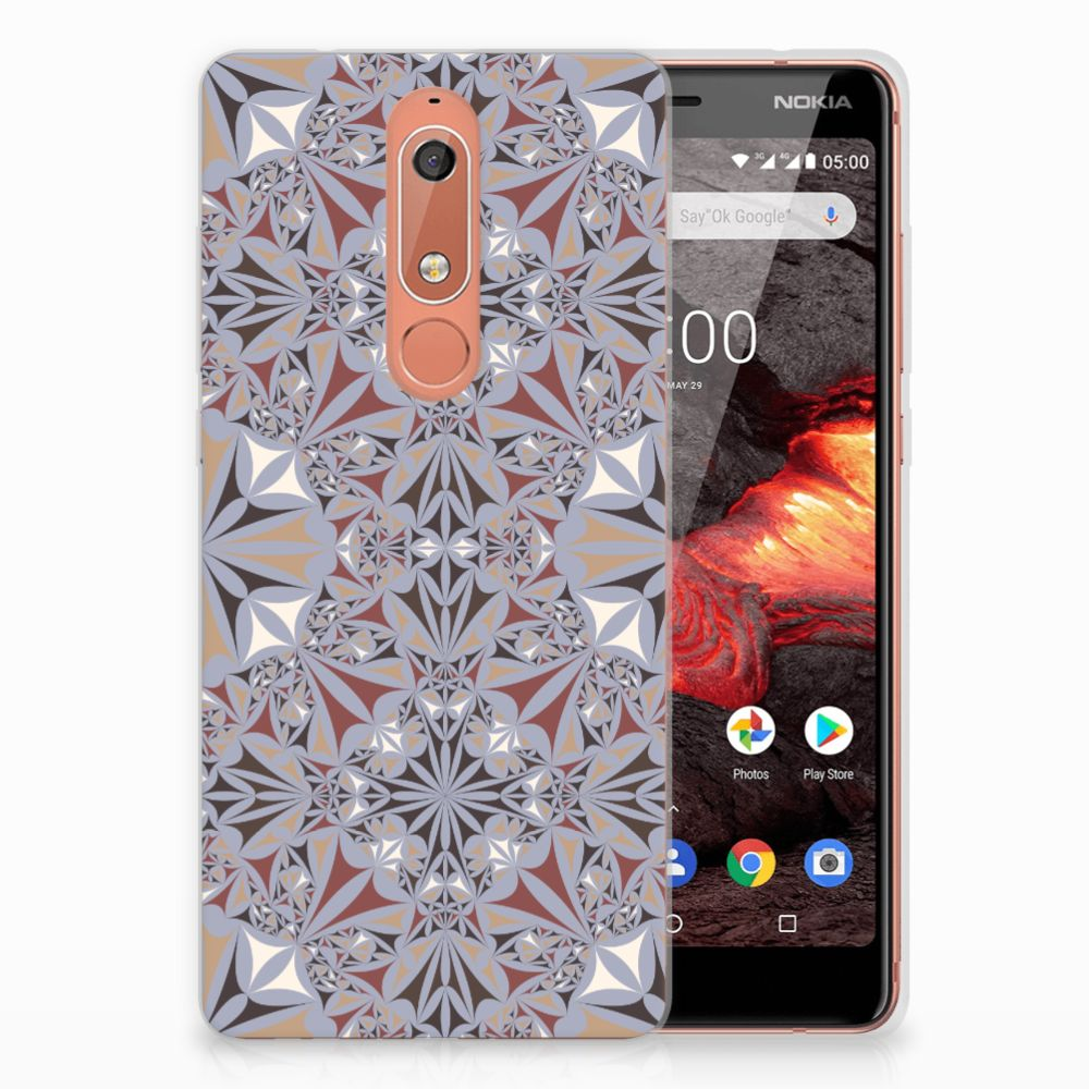 Nokia 5.1 (2018) TPU Siliconen Hoesje Flower Tiles