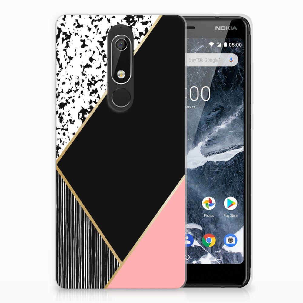 Nokia 5.1 (2018) Uniek TPU Hoesje Black Pink Shapes