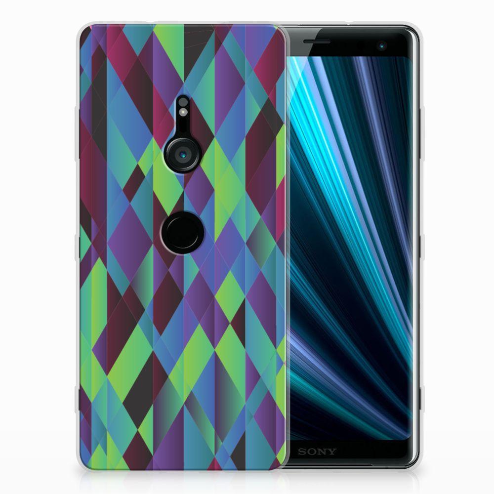 Sony Xperia XZ3 TPU Hoesje Design Abstract Green Blue