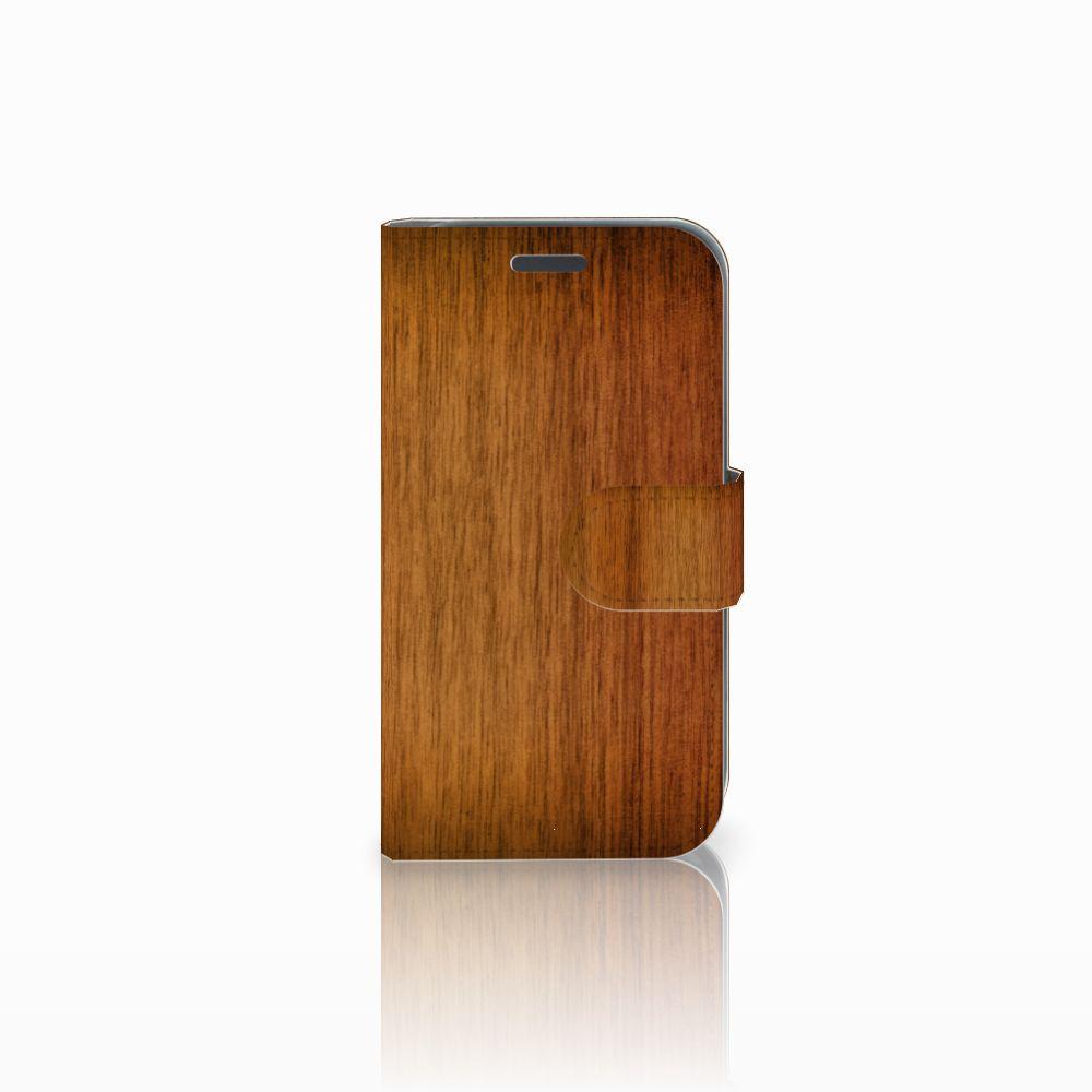 Samsung Galaxy J1 2016 Uniek Boekhoesje Donker Hout