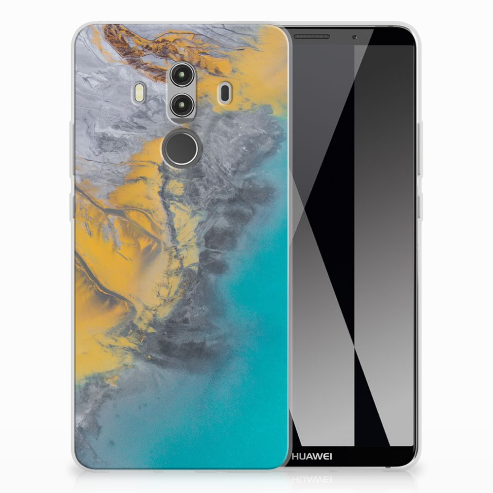 Huawei Mate 10 Pro TPU Siliconen Hoesje Marble Blue Gold