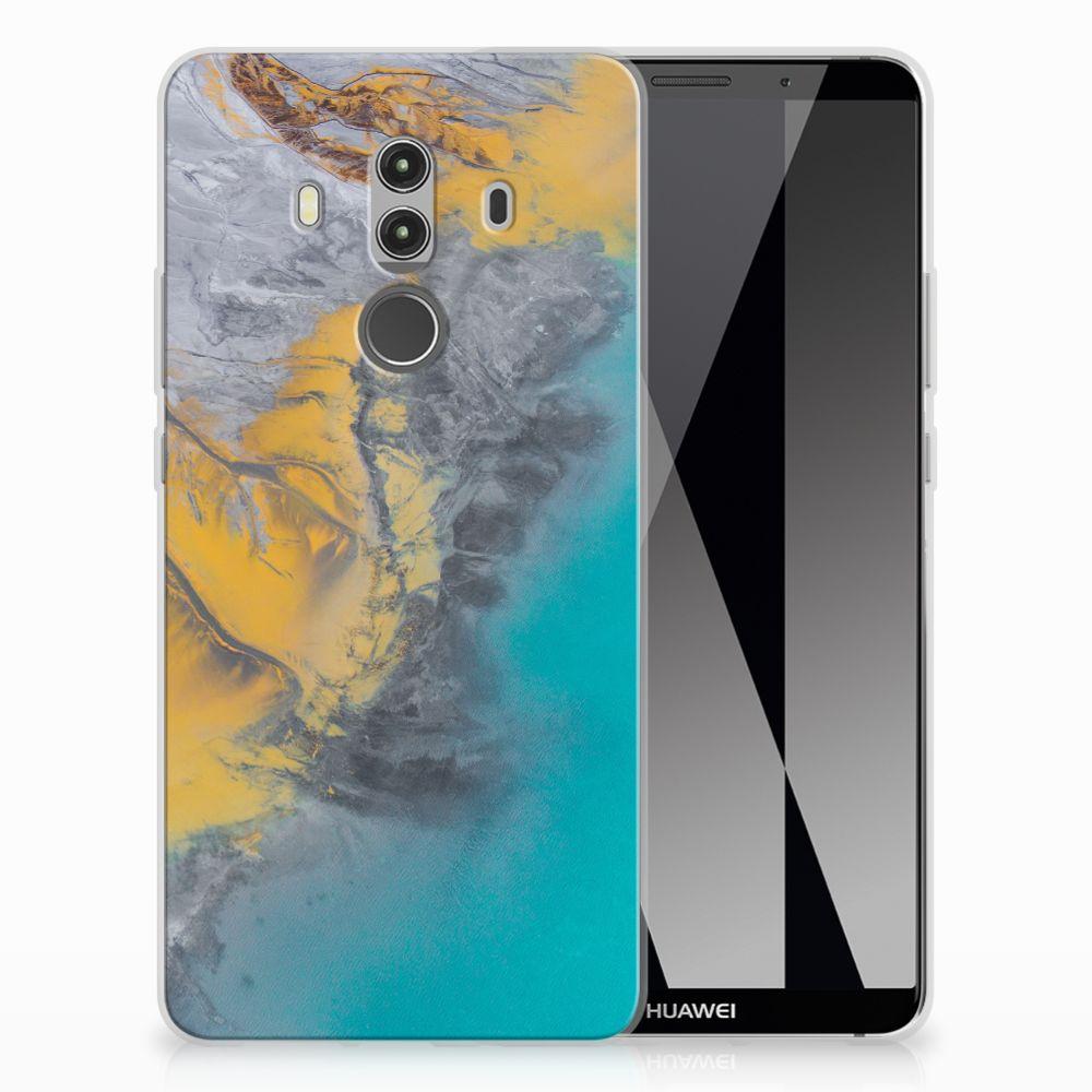 Huawei Mate 10 Pro TPU Hoesje Design Marble Blue Gold