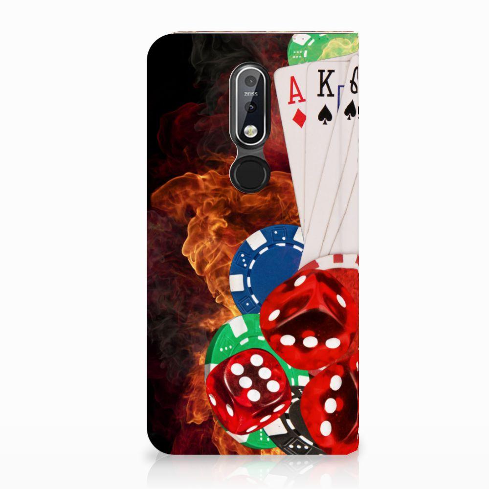Nokia 7.1 (2018) Uniek Standcase Hoesje Casino