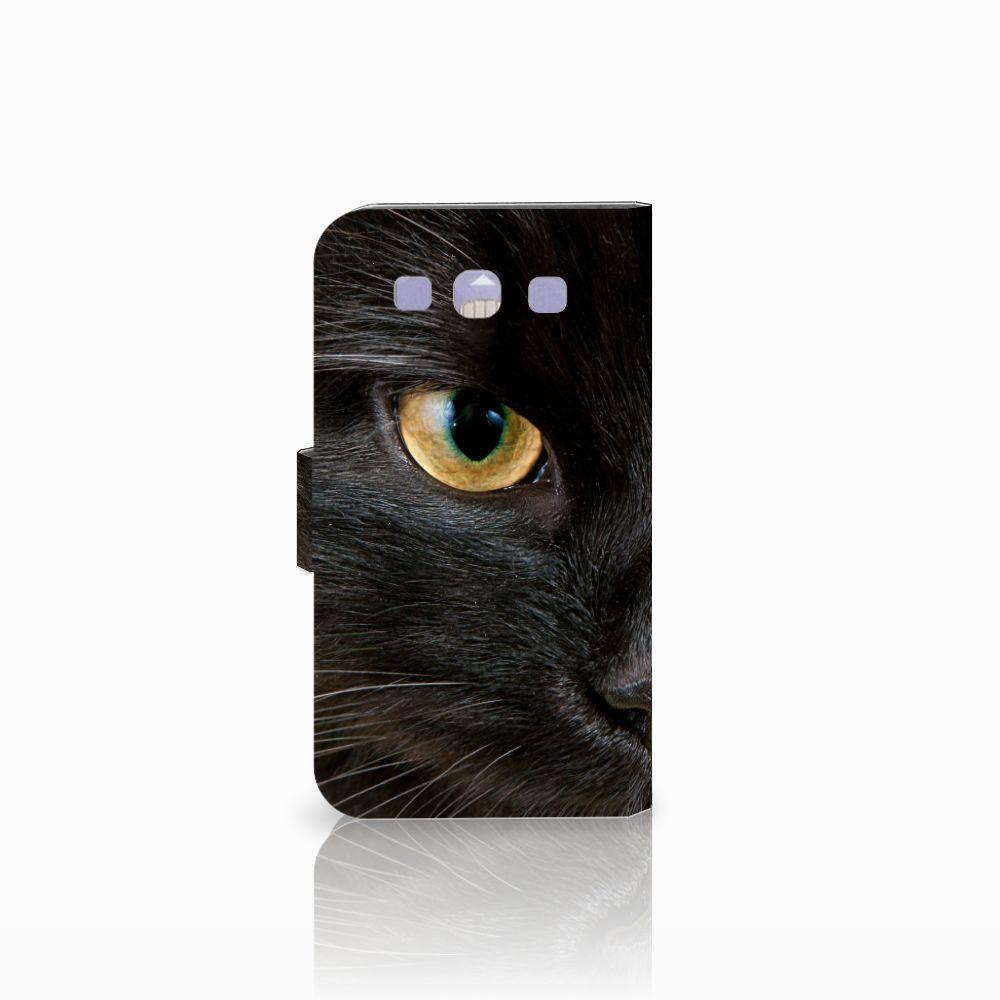 Samsung Galaxy S3 i9300 Telefoonhoesje met Pasjes Zwarte Kat