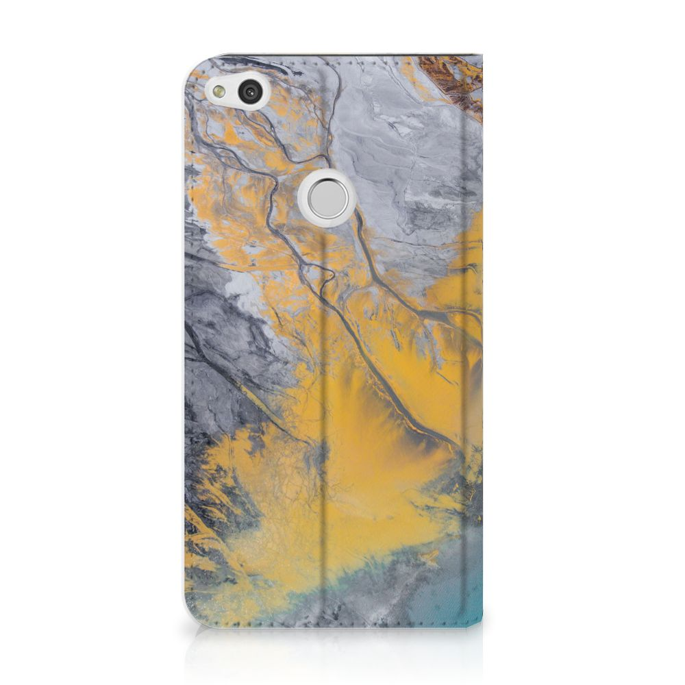 Huawei P8 Lite 2017 Standcase Hoesje Design Marble Blue Gold