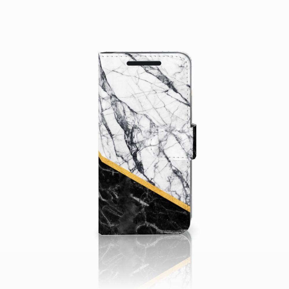 HTC One M9 Bookcase Marmer Wit Zwart