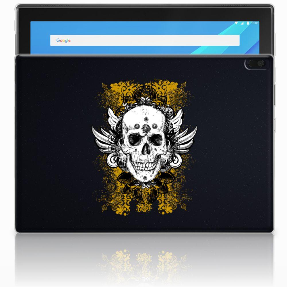 Lenovo Tab 4 10.1 Tablethoesje Design Skull Gold