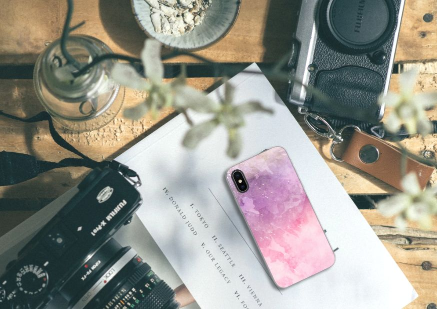 Apple iPhone X | Xs TPU Hoesje Design Pink Purple Paint