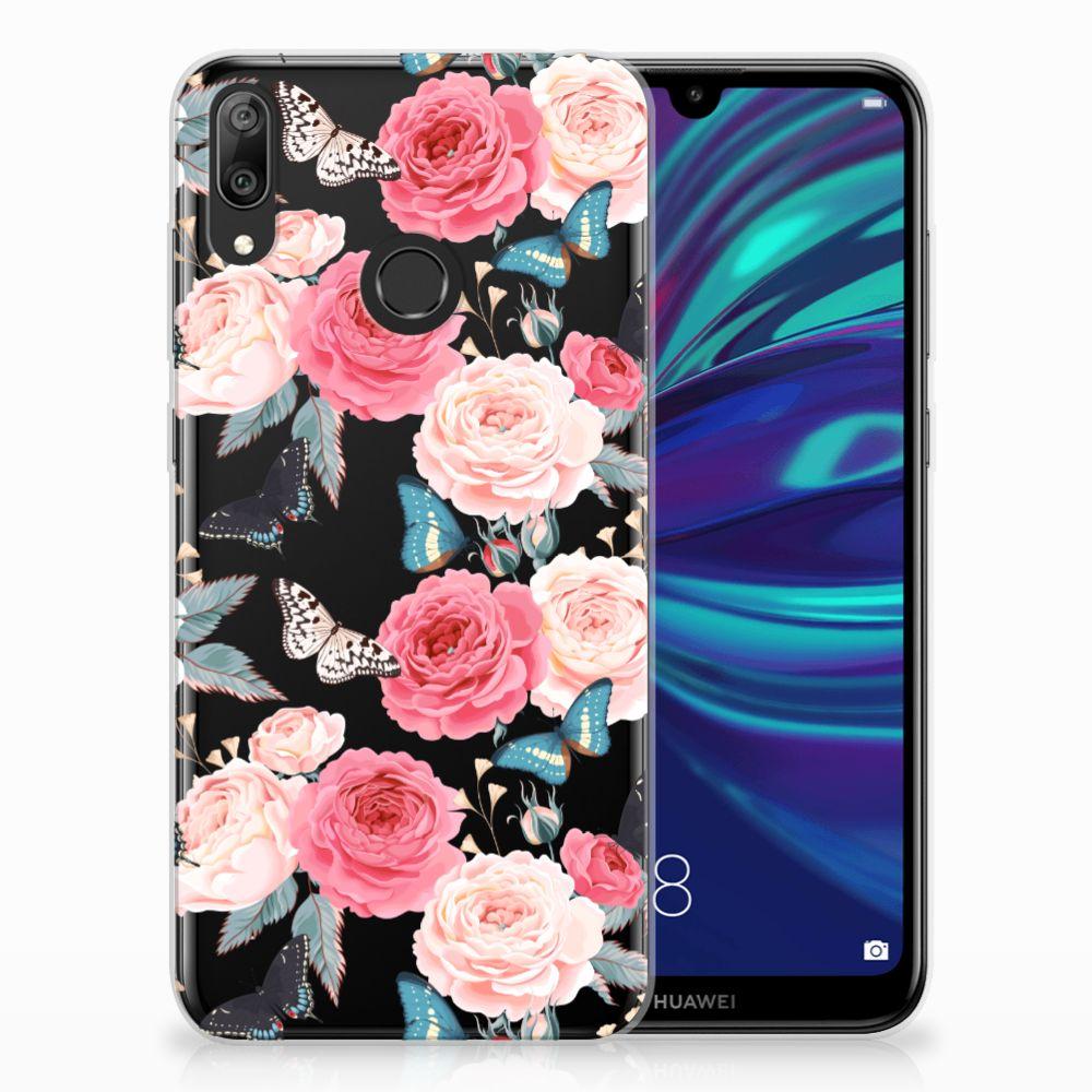 Huawei Y7 2019 Uniek TPU Hoesje Butterfly Roses