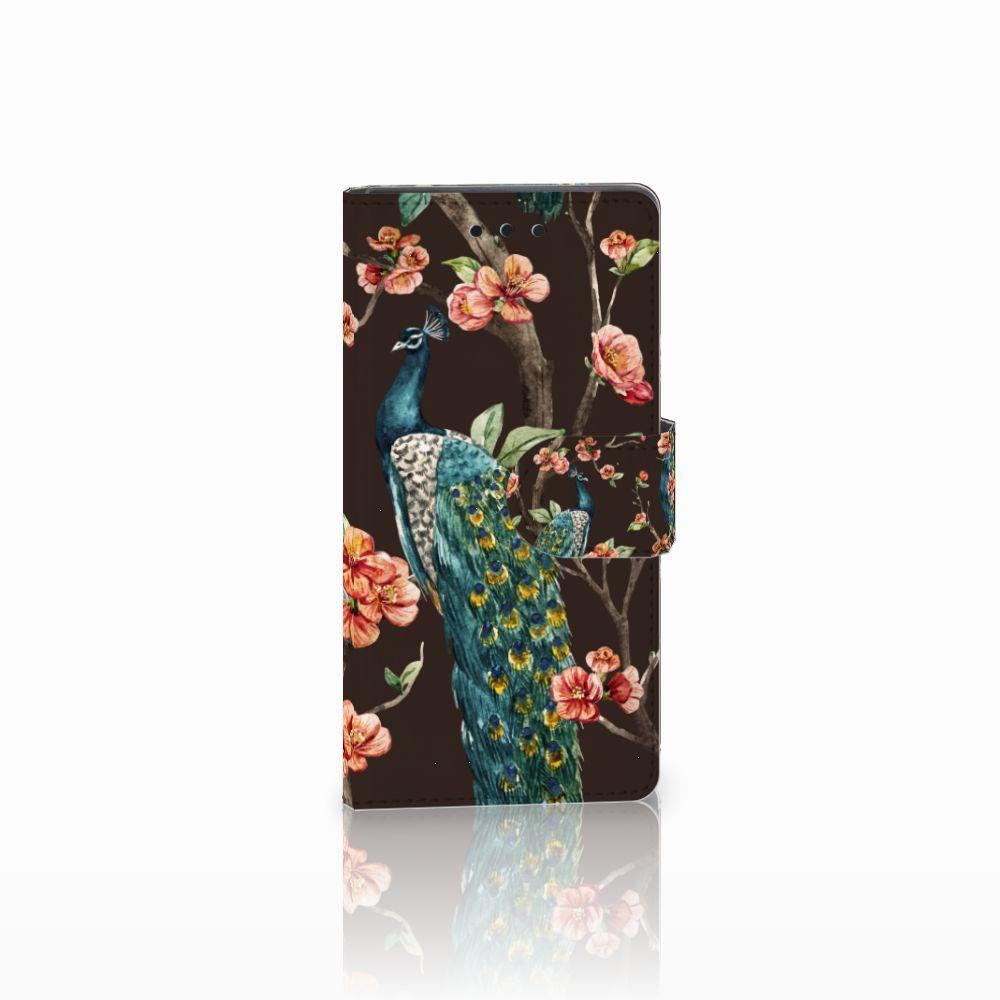 Sony Xperia Z5 Compact Boekhoesje Design Pauw met Bloemen