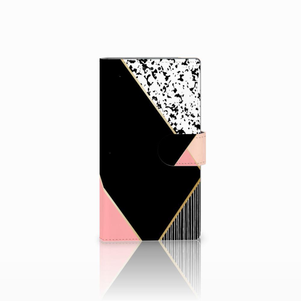 Sony Xperia L2 Uniek Boekhoesje Black Pink Shapes