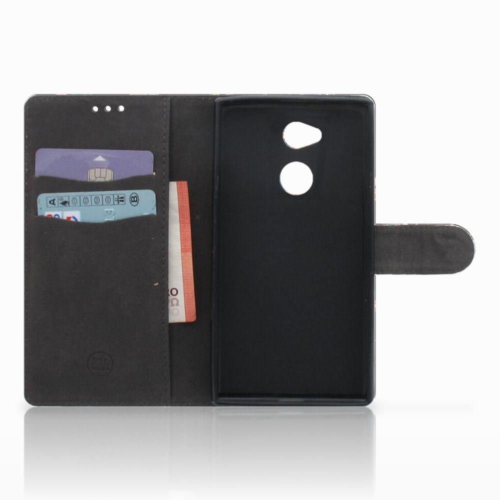 Sony Xperia XA2 Ultra Telefoonhoesje met Pasjes Pauw met Bloemen