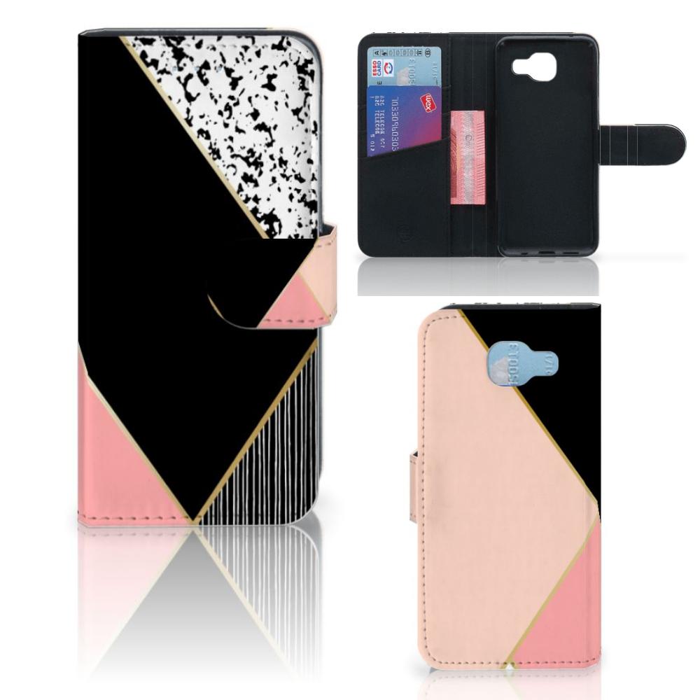 Samsung Galaxy A5 2016 Bookcase Zwart Roze Vormen