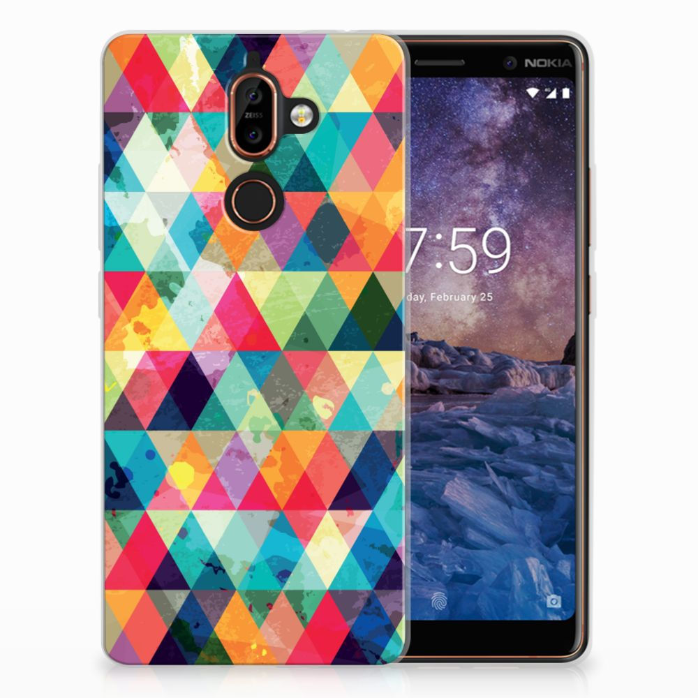Nokia 7 Plus Uniek TPU Hoesje Geruit