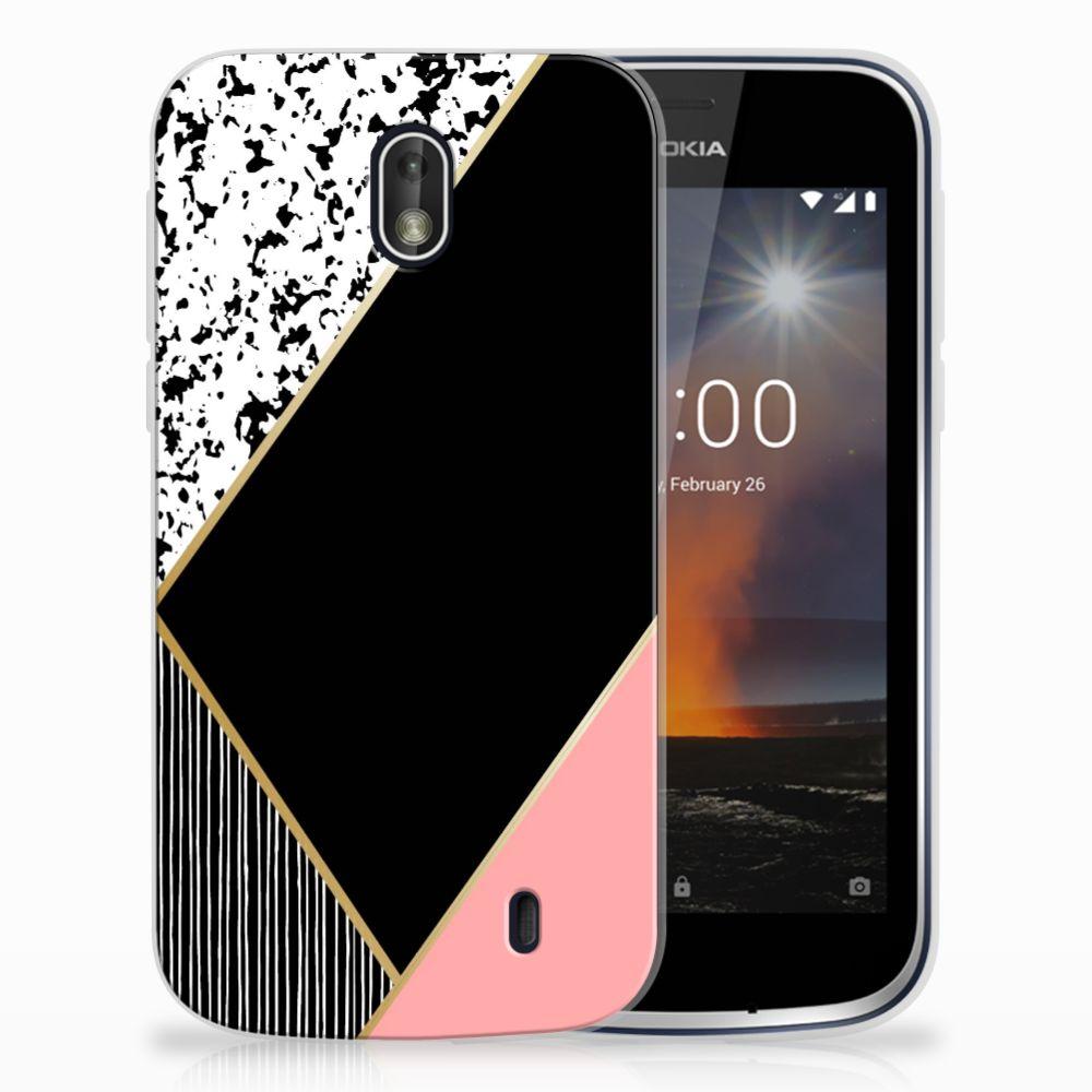 Nokia 1 Uniek TPU Hoesje Black Pink Shapes